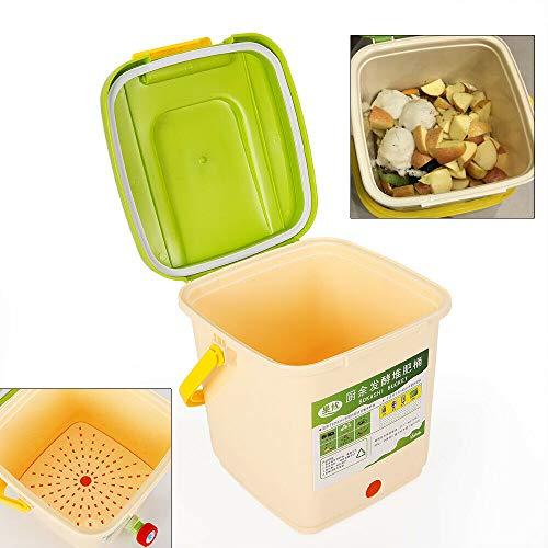 DiLiBee 9L Jardín Basurero Composter Reciclaje ecológico Hojas de jardín Residuos Compost Contenedor Cocina Composter Juego de inicio Composter Cocina 4-6 semanas