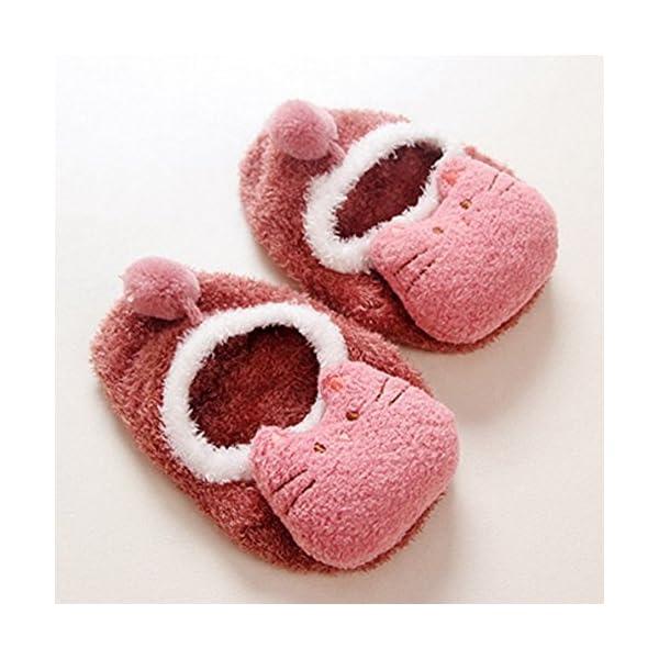 Happy Cherry - 3 Pares de Recién Nacido Calcetines Antideslizantes Primer Paso para Primavera Otoño Zapatillas de Casa… 5