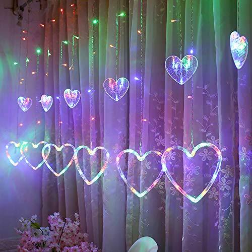 TianranRT LED Herzförmig Hängen Vorhang Beleuchtung Schnur Netz Weihnachten Zuhause Party Zuhause...