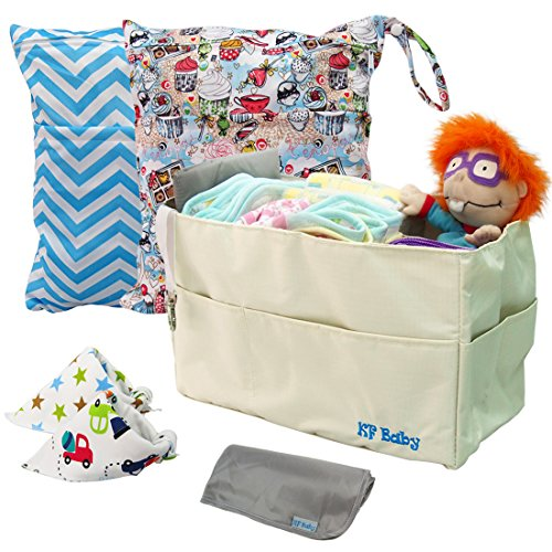 kf-baby-diaper-bag-insert-organizer-waterproof-wet-bags-bandana-bibs-combo