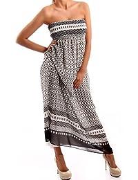 Bandeau sans bretelles style hippie longue robe d'été en chiffon