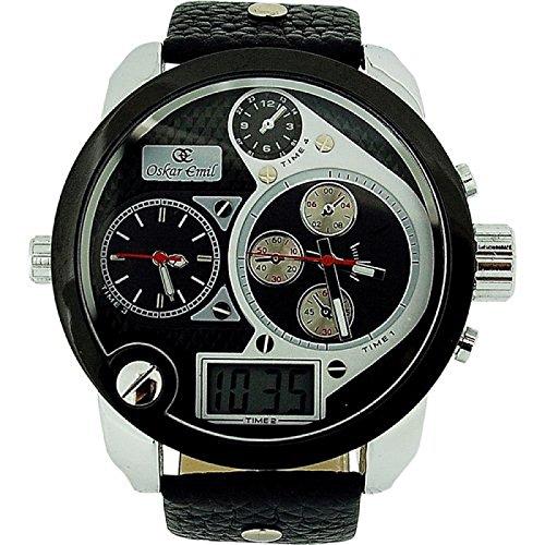 Oskar Emil Spiral Silver–Wristwatch men's, Leather Strap Black