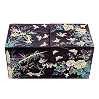 Mother of Pearl Inlay Art Four Noble Plant Flower Design Twin Cubic Lacquer Wooden Black Secret Jewellery Trinket Keepsake Treasure Gift Box Case Chest Organizer