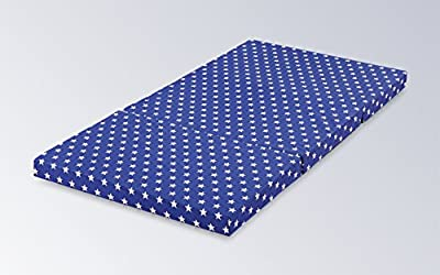 Colchón Plegable Niños 120x 60x 6cm Colchón de viaje estrellas & Funda Colchón de viaje color a elegir entre azul, beige y gris