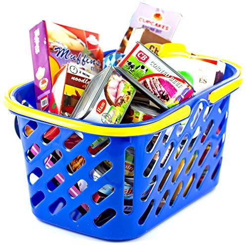 Nerd Clear Kaufladen Zubehör Set | 20-teiliger Kaufmannsladen Korb bestehend aus süßen und deftigen Lebensmitteln |