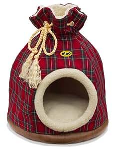 Cleo Panier en forme de sac avec arceaux amovibles et housse lavable pour chat Motif tartan Rouge TailleL 580 x 460mm Coussin intérieur séparé. Convient également aux petits chiens (jusqu'à la taille Jack Russell)