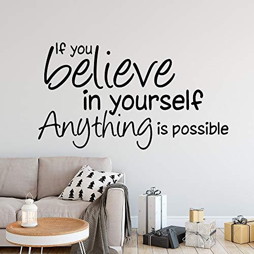 jiushizq Glauben Sie an Sich selbst Motivation Zitat Vinyl Wandaufkleber Für Büro Dekoration Wandbild Kinder Schlafzimmer Wohnzimmer Houe Decor Weiß 80 cm X 43 cm