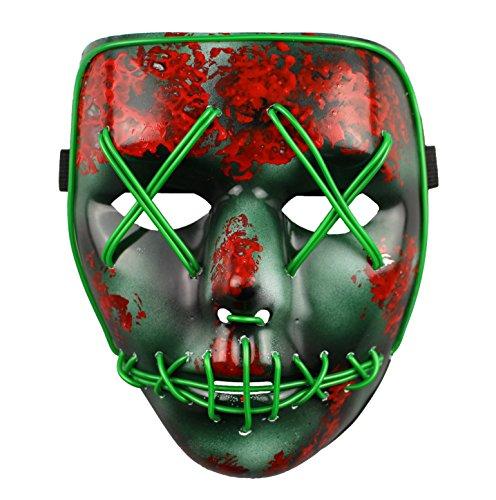 Für Halloween Purge Kostüme (The Purge Wahl Jahr LED Beleuchtung Maske Fest Halloween)