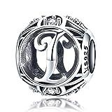 Argent sterling lettres de l'alphabet Initiale Lettre I Charms Perles avec Oxyde de Zirconium pour bracelets et colliers