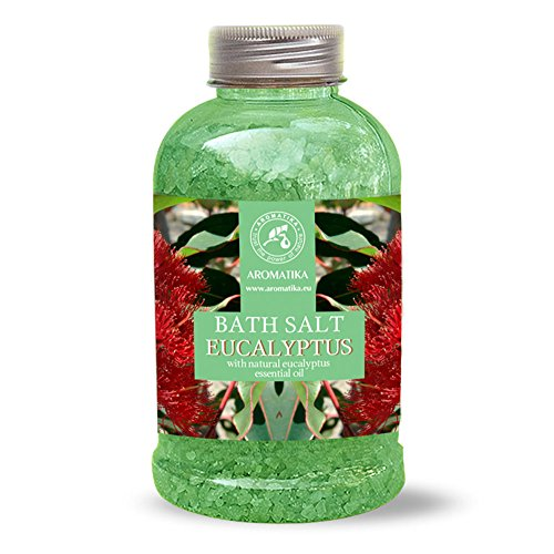 Sel de Bain Eucalyptus 600g - Sel Marin avec Huile Essentielle D'Eucalyptus Essentielle - Meilleur pour un Bon Sommeil - Soulagement du Stress - Soin du Corps - Détente - de marque Aromatika