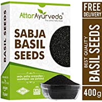 Attar Ayurveda Sabja Basil Seeds for Weight Loss - 400 gm (Reduces Body Heat)