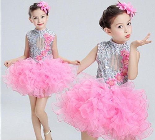 Kinderleistungskleidung Kinder tanzen Kostüme Latin-Tanzkleidung Bauchtanz Kleidung/pink/rot/grün/blau, pink, ()