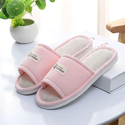 DogHaccd pantofole,Estate Home pantofole home indoor antiscivolo lino coppie pantofole in legno con spessore dello scambiatore di calore a pavimento pantofole estate femmina Rosa