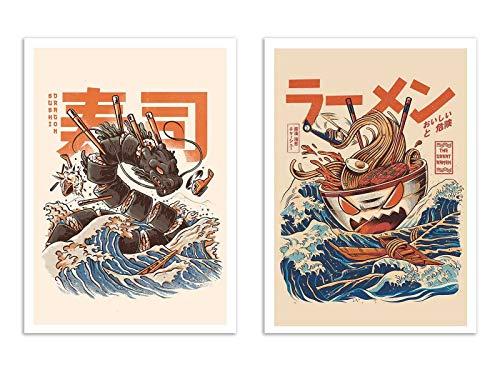 2 Art-Posters 30 x 40 cm - Ramen and sushi dragon - Ilustrata