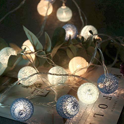 bloatboy Cotton Ball Lichterketten - 20 LED Cotton Lichter Remote Control Lichterketten Fairy String Lights Home Room Dekor (Blau) - Remote-flasche