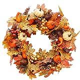 19 inch DIY herfst krans herfst krans benodigdheden met Grapevine krans, Thanksgiving Day herfst Maple Leaf pompoen, esdoorn bladeren, Berry krans Halloween voordeur Home Decor
