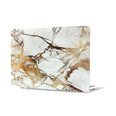 Ac.y.c Gold Mamormuster Mattiertes gummibeschichtetes Hard Case Schalen [Für MacBook Air 13 Zoll: A1369/A1466]+Tastatur Haut (Gold)