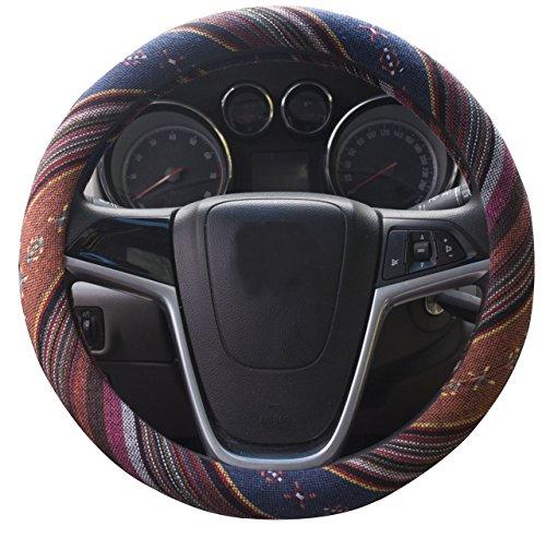 Mayco Bell 2018 Tessuto etnico ruvido di lino in stile etnico Copertura del volante automobilistico Antiscivolo e assorbimento del sudore Copertura per involucro auto (F)