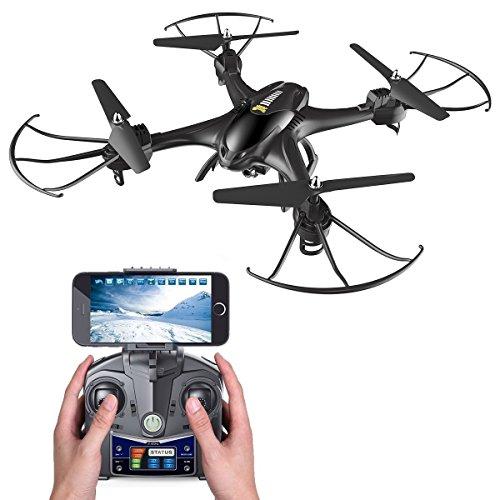 Holy Stone HS200 FPV RC Drohne mit HD Kamera WIFI Live Übertragung und APP steuern RC Helikopter Quadrocopter ferngesteuert mit camera,live video, One Key Start,automatische Höhenhaltung,Headless-Modus für Kinder und Anfänger,Farbe Schwarz