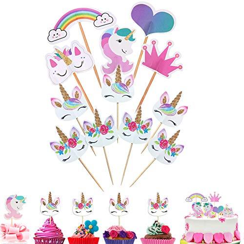 96 decoraciones de unicornio para cupcakes con forma de corazón arcoíris para...