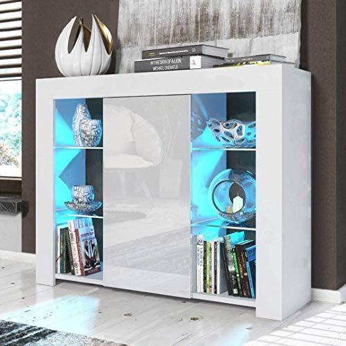 lyrlody Standschrank, Hochglanz Wohnzimmerschränke Sideboard Kommode Küchenschrank mit 4 Modi RGBW LED Beleuchtung, 6 Glasplatten und 1 Schrank, USB-Schnittstelle, 97.5 x 35 x 83.5cm(Weiß)
