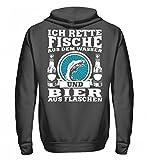 Fischer Shirt · Angeln · Lustiges Geschenk für Angler · Motiv: Ich rette Fische aus Wasser Hochwertiger Unisex Kapuzenpullover Hoodie -