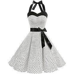 Dresstells Neckholder Rockabilly 50er Polka Dots Punkte 1950er Kleid Petticoat Faltenrock White Small Black Dot L