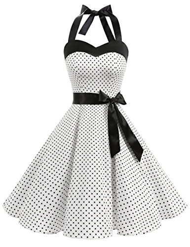 Dresstells Donne 1950 Audrey Hepbun Vintage con Allacciatura al Collo di Polka Dots Cocktail Vestito, White Small Black DOT XL