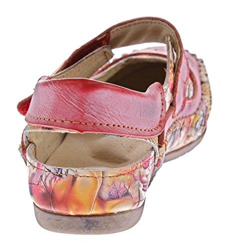 TMA Damen Leder Ballerinas Echtleder Slipper Comfort Schuhe Sandalen TMA 5068 Gr. 36 - 42 Rot