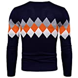 Search : WSLCN Mens Classic Checkered Sweater Knit V-Neck Coton Jumper Contrast Color