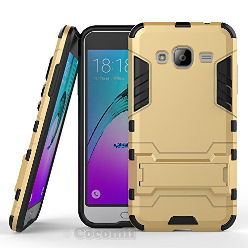 Galaxy J3 2016 / J3 V / J3 Pro / Amp Prime Coque, Cocomii Iron Man Armor NEW [Heavy Duty] Premium Tactical Grip Kickstand Shockproof Hard Bumper Shell [Military Defender] Full Body Dual Layer Rugged Cover Case Étui Housse Samsung J320 (Gold)