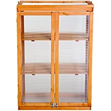 Outsunny 3-tier Wooden Cold Frame Polycarbonate Grow House Garden Greenhouse Outdoor Flower Vegetable Planting Storage Shelves (76L x 47W x 110H (cm))