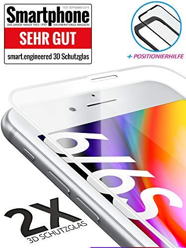 smart engineered 3D Schutzglas kompatibel mit iPhone 6S / 6 | Premium Frame Line Weiss [2 Stück] volle randlose Abdeckung [absolut passgenauer Rand] mit Schablone Rahmen [3D Touch Echtglas] -