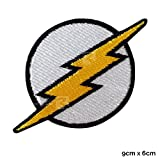 Véritable Empire The Flash Patch The Flash Logo Comic Book Patch Broderie Iron on Patch, Black Outline, 7.5x7.5cm