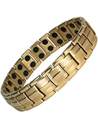 MPS® EUROPE GOLD PL Classic Titanium Magnetic Bracelet for Men, Powerful 3,000 gauss Magnets + Free Resizing Tool