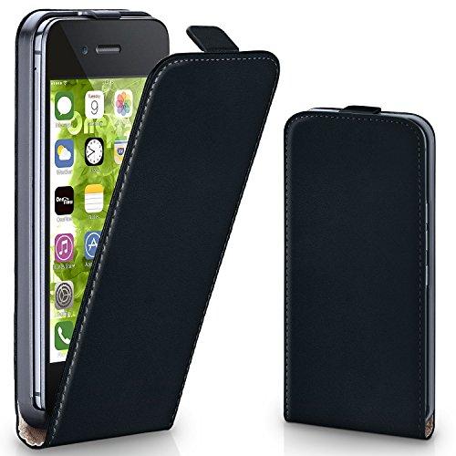 moex iPhone 4S | Hülle Schwarz 360° Klapp-Hülle Etui thin Handytasche Dünn Handyhülle für iPhone 4/4S Case Flip Cover Schutzhülle Kunst-Leder Tasche
