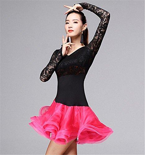Femme professionnelle à manches longues robe de danse latine / Autres couleurs Black