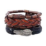 Gysad 4 pièces Bracelet homme cuir tressé Design rétro Bracelet homme cuir pas...