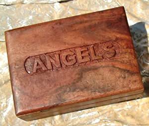 Hand Carved 'Angel' Sheesham Wood Box For Doreen Virtue Angel/Oracle Cards