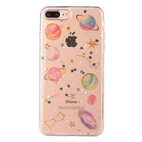 Edaroo Bling Glänzend Planet Crystal Silikon Handyhülle für iPhone 8 Plus 5,5
