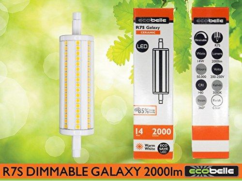 7s Dimmbar LED Leuchtmittel Lampe *GALAXY*, 2000 Lumen mit Gehäuse aus Keramik für bessere Kühlung, warm-weiß 3000K, 118 mm, 360° (Led-galaxy Light)