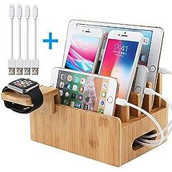 BEEBO BEABO Bambus-Ladestation für mehrere Geräte, Holz-Docking-Ständer-Organizer mit Uhrenständer und 4 USB-Ladekabeln, Handy-Ladestationen, die mit Uhren, Telefonen und Tablets kompatibel sind