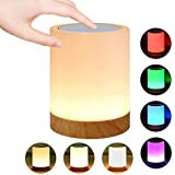 Caxmtu LED Night Light Touch Lamp Bedside Table Lamp for Kids Bedroom Rechargeable Dimmable Warm White Light + RGB Color Chan