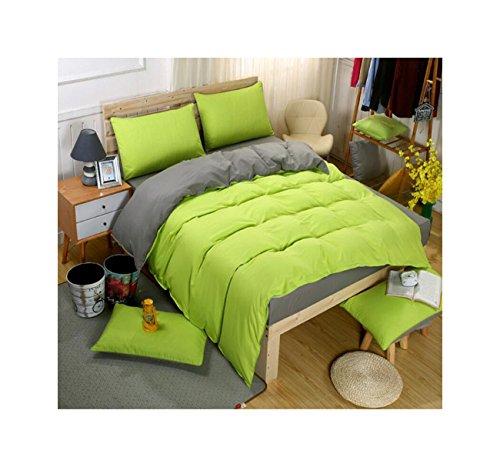 Teenager-mädchen Queen-bettdecken Für (Die peachess 4er Set Bettbezug, 100% Baumwolle gewaschen Bettbezug, Ultra Weich und pflegeleicht, einfacher Stil Bettwäsche-Set, baumwolle, grün, Queen)