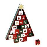 Weihnachtsdeko - wiederverwendbarer Adventskalender aus Holz - Form: Tannenbaum
