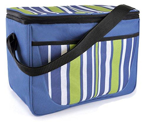 Grande famiglia estate Stripe Stampa beach-picnic-camp Borsa Termica con Tracolla Blue