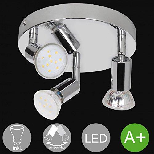 FineBuy 3-flammige LED-Deckenlampe Rondell EEK A+ inkl. 3x3 Watt Leuchtmittel | Deckenleuchte IP20 Warmweiß Diele Flur GU10 Fassung | LED-Spots Drehbar Wohnzimmer Schlafzimmer Kinderzimmer