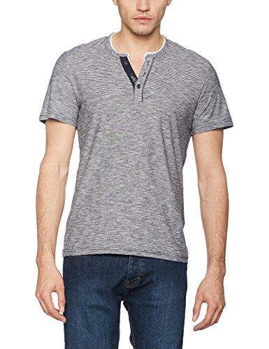 TOM TAILOR Herren T-Shirt Fine Striped Basic Henley Blau (knitted navy 6800)