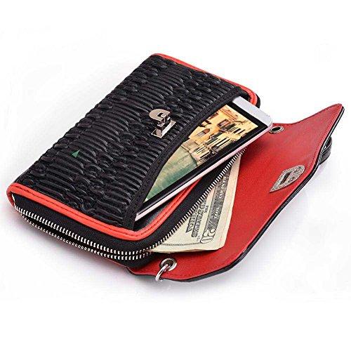 Kroo Téléphone portable étui de protection en cuir véritable pour HTC Desire Eye Multicolore - Rouge/noir Multicolore - Rouge/noir