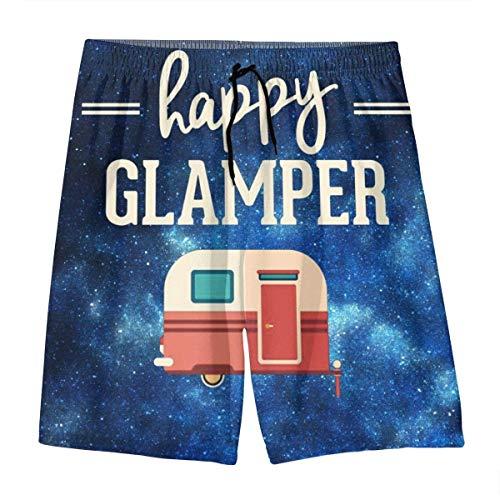 XMNCAN Teen Boys Swim Trunks Happy Glamper Beach Shorts Board Shorts Sports Shorts for Men's (L) -
